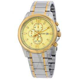 Citizen Men's Chronograph, Two-tone (Silver and Gold), Gold Dial Stainless Steel Watch for only $55 with code at World of Watches