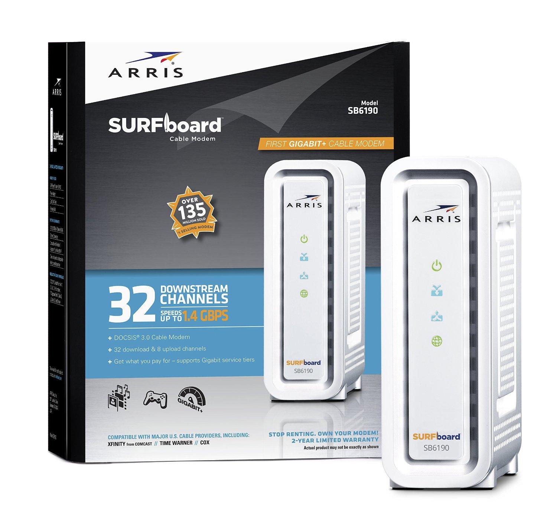 ARRIS SURFboard SB6190 DOCSIS 3.0 Cable Modem - Retail Pkg - $79.99 Prime