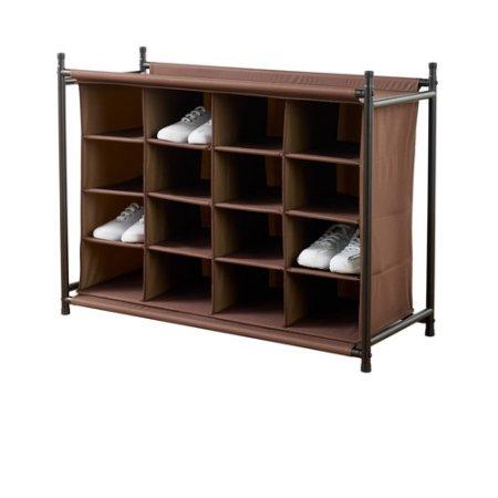 Neatfreak 16-Compartment Shoe Rack, Brown $26.57