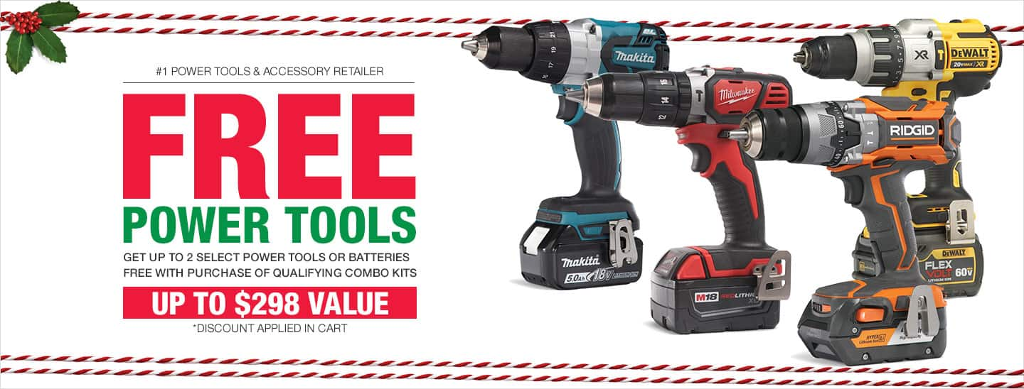Home Depot two extra tools or batteries for free with purchase of select tool set.