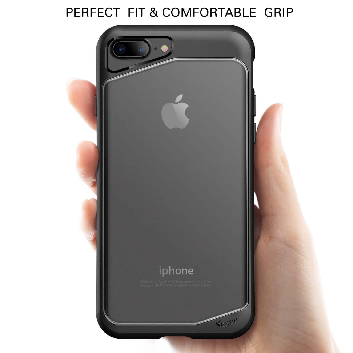 iPhone 7 Plus Slim Clear Case in Black Shockproof & Water Resistant Anti-Scratch for $1.99 w/ possible FS @ Amazon