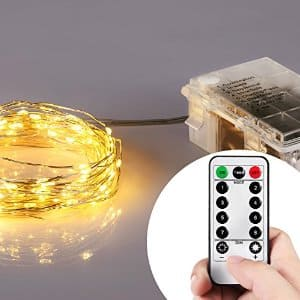 Homestarry Battery Operated Micro LED String Lights, 32-Feet with Wireless handheld remote control $14.95