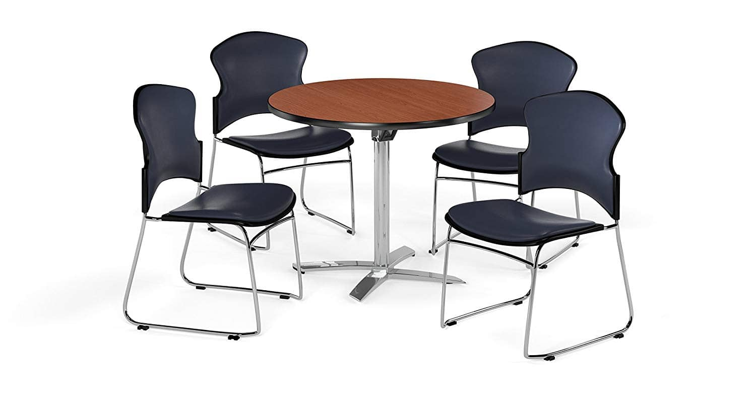 OFM PKG-BRK-053-0004 Breakroom Table and Chair Package, Cherry/Navy, 4-Chairs $278.8