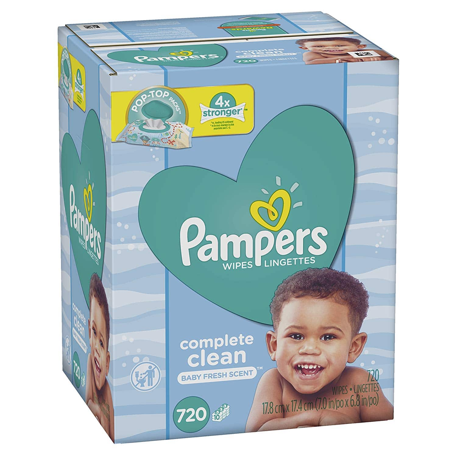 1440-Count Pampers Baby Wipes Complete Clean Scented 10X Pop-Top Packs, 720 Count Pack of 2 $19.57