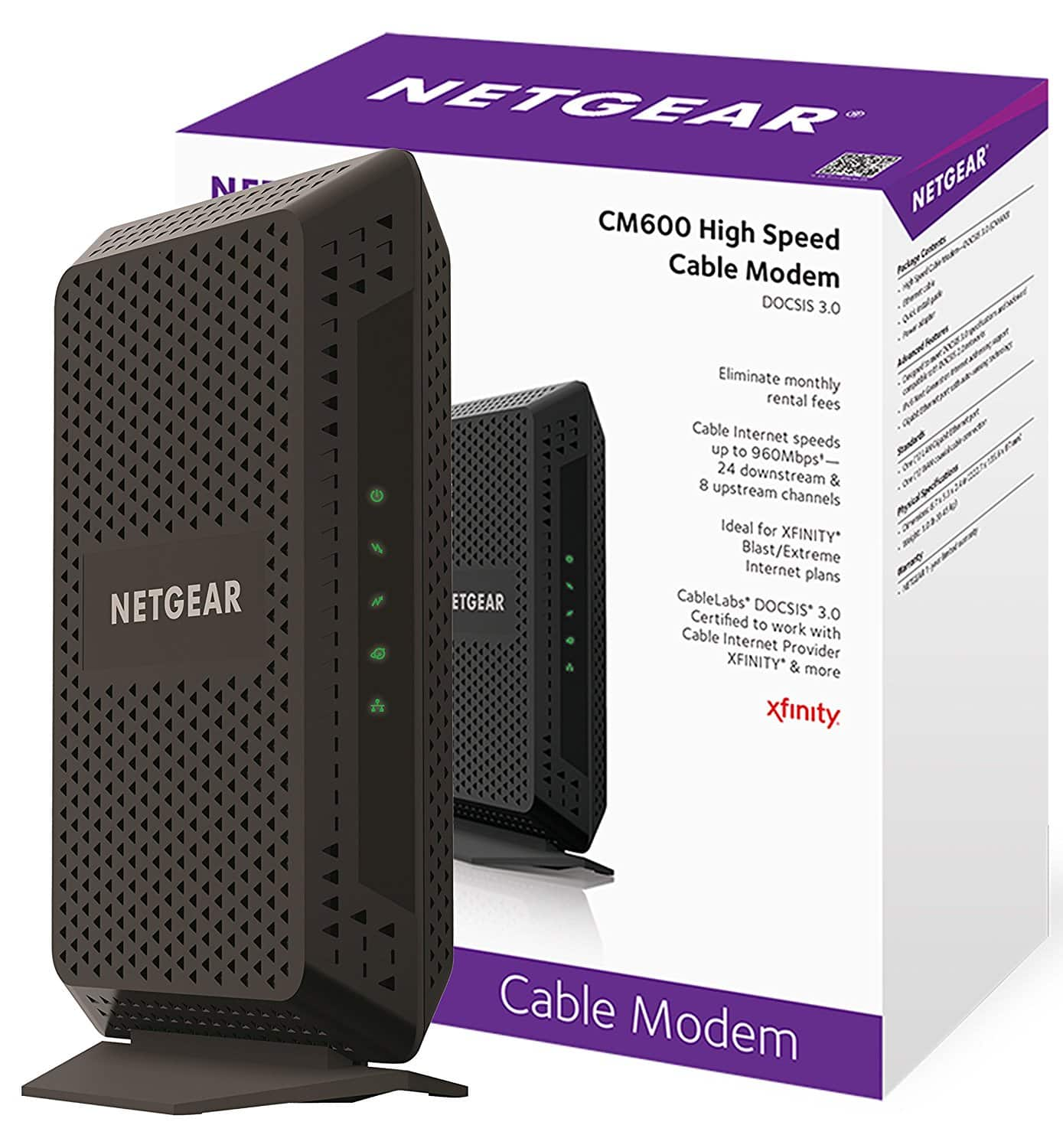 NETGEAR CM600 (24x8) DOCSIS 3.0 Cable Modem. Max download speeds of 960Mbps. Certified for XFINITY by Comcast, Time Warner Cable, Cox, Charter. better than BLACK FRIDAY DEAL $69.99