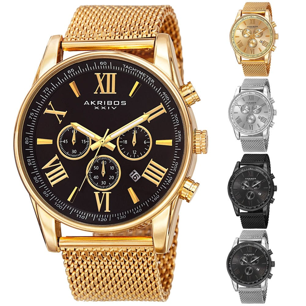 Men's Akribos XXIV AK813 Swiss Chronograph Date Stainless Steel Mesh Watch $35.99 @Ebay +FS $36