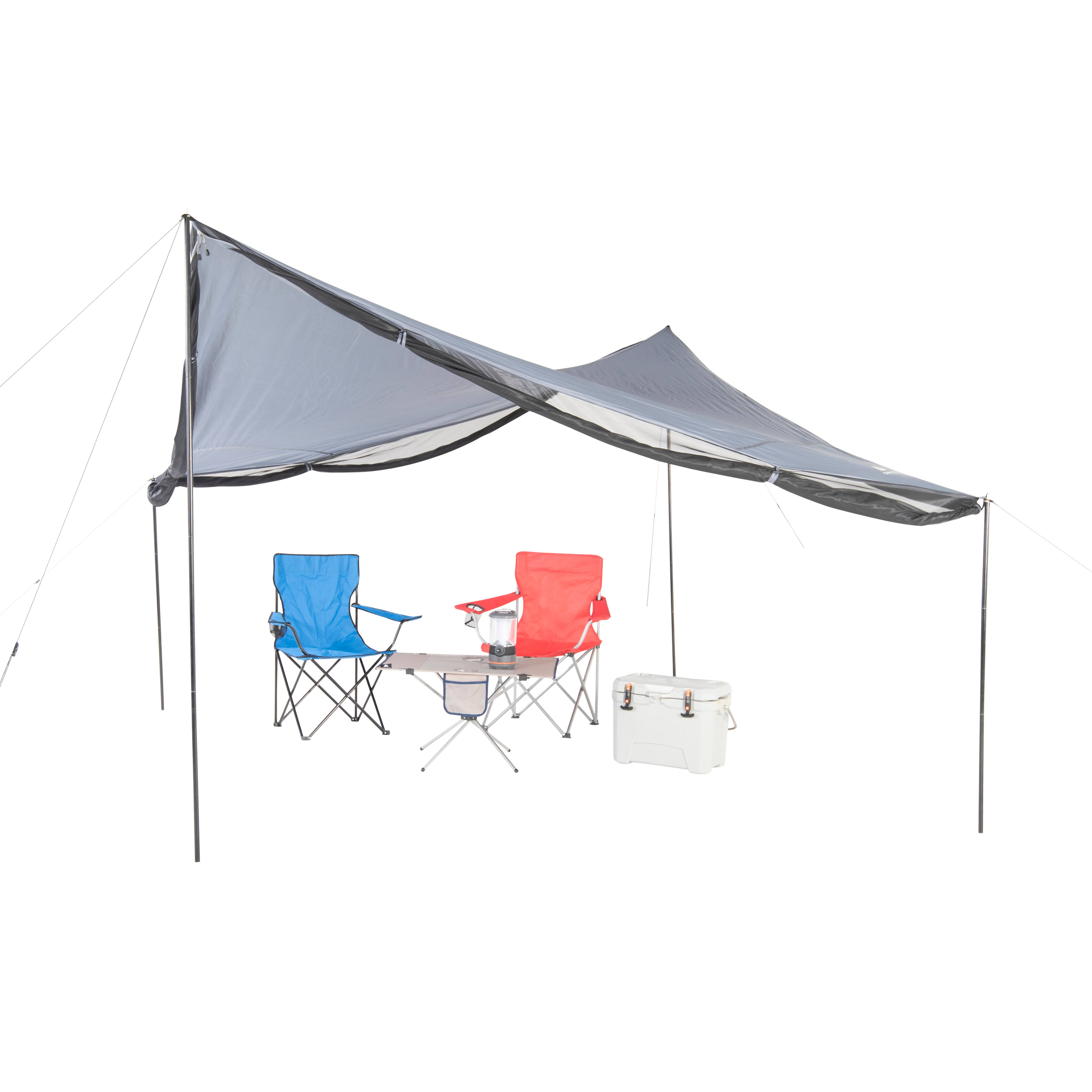 Ozark Trail Tarp Shelter with UV Protection and Roll-up Screen Walls 9 L x 9 W x 7 H @ $34 from Walmart.com