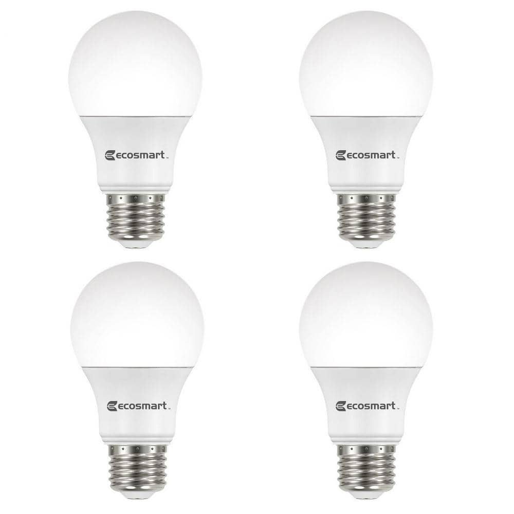 EcoSmart 60-Watt Equivalent A19 Non-Dimmable LED Light Bulb Daylight (4-Pack) - $2.19 - HomeDepot