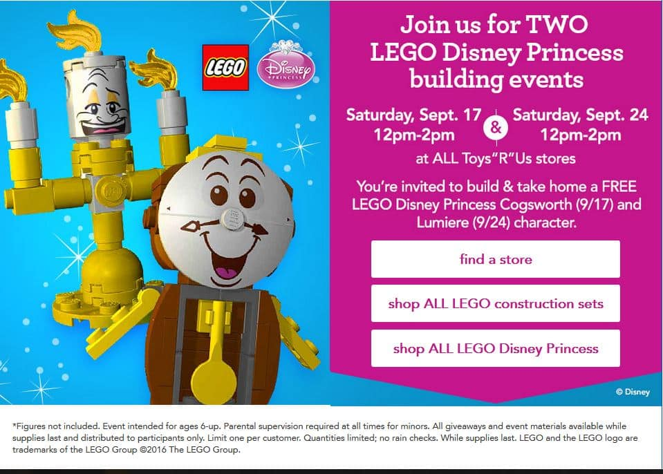 LEGO Disney Princess Building Events @ Toys R Us TRU on Sept 17 & 24 (12-2pm). FREE Cogsworth / Lumiere
