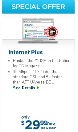 Charter Internet Plus(30 Mbps)  29.99 no contract free modem
