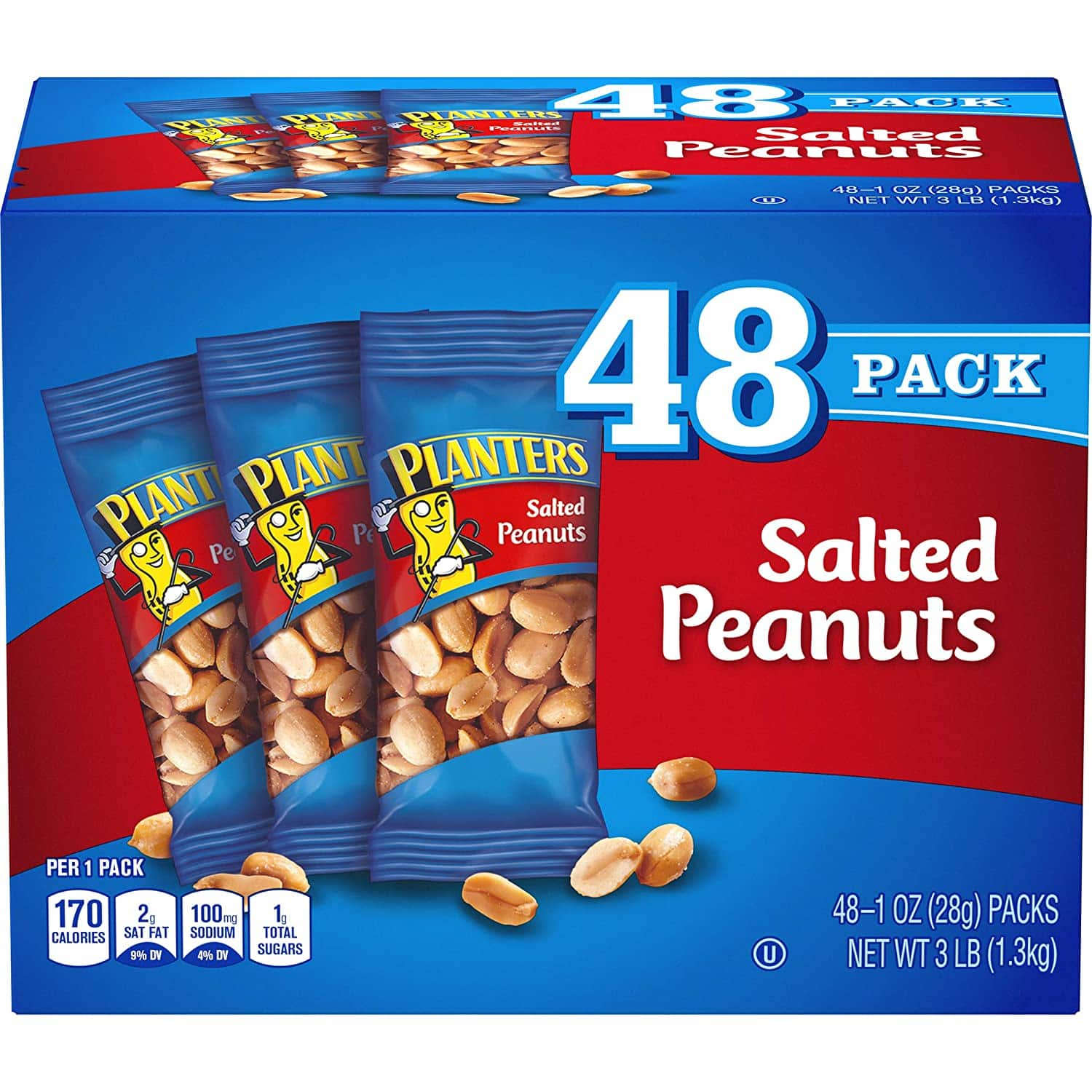 48 Count of 1oz Planters Salted Peanuts at Amazon for $7.11 (5% S&S) or $6.36 15% S&S)
