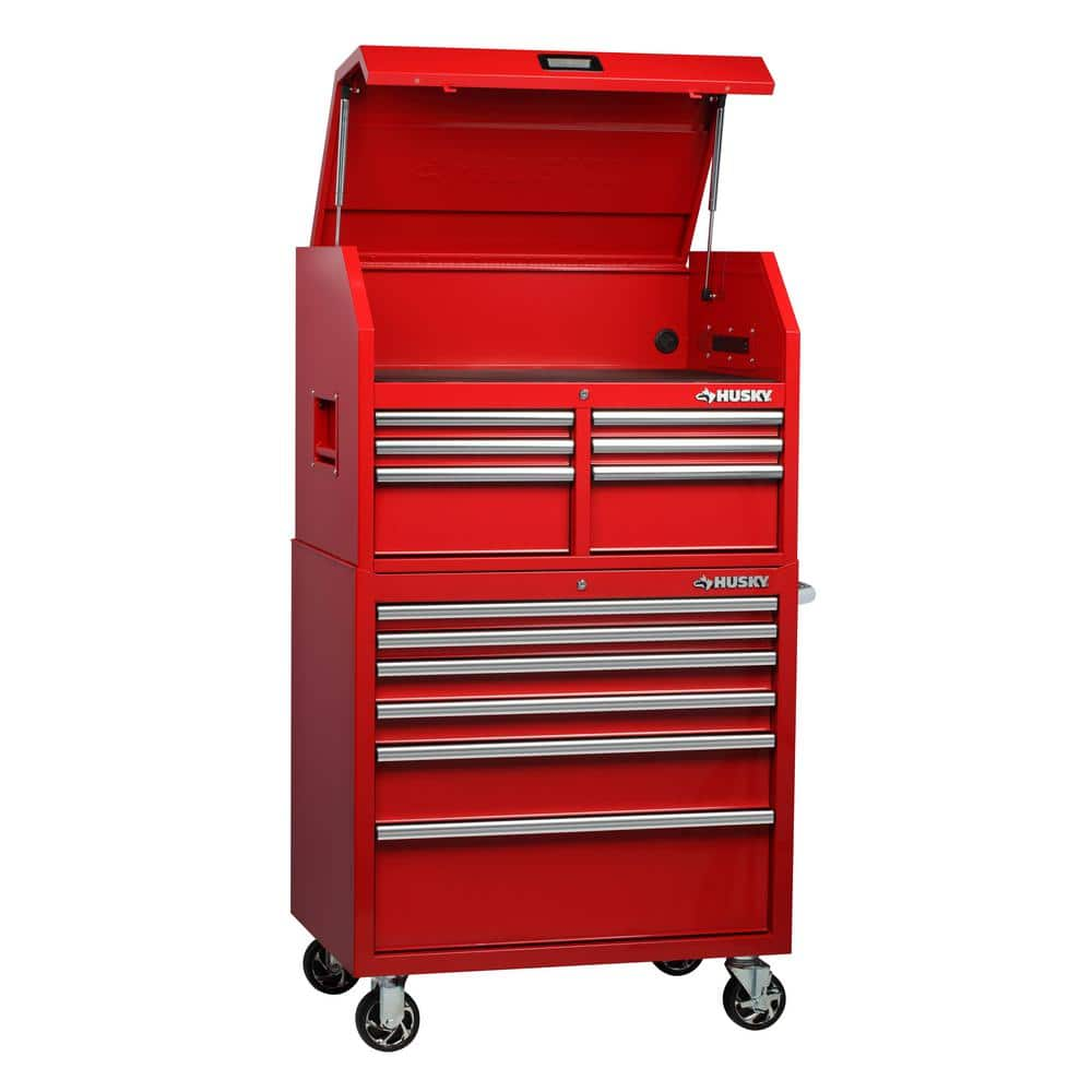 Husky 36 in. W 24.5 in. D 12-Drawer Tool Chest and Cabinet Combo in Red -- On sale for $398 again -- Free In store pickup