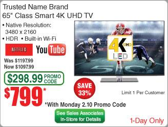 """Fry's 65"""" 4K TV - Trusted Name Brand $799"""