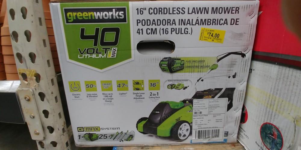 """Greenworks 16"""" 40v mower (25322) $74 Walmart  Very YMMV"""