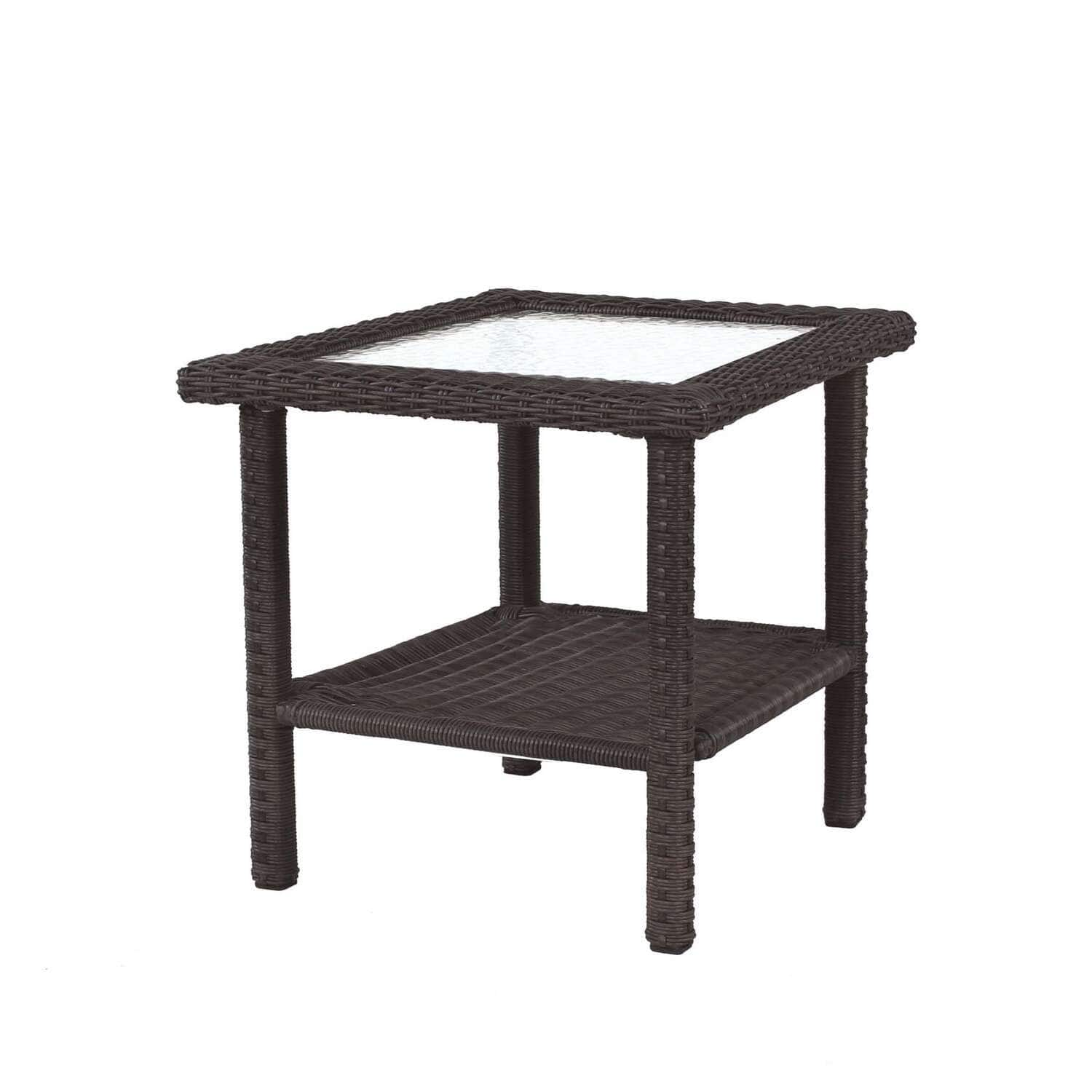 Living Accents Prescott Square Brown Wicker Side Table w/ Glass Top $27 +  2.5% Slickdeals Cashback (P/C Req'd) at Select Ace Hardware + Free Curbside Pickup ** YMMV