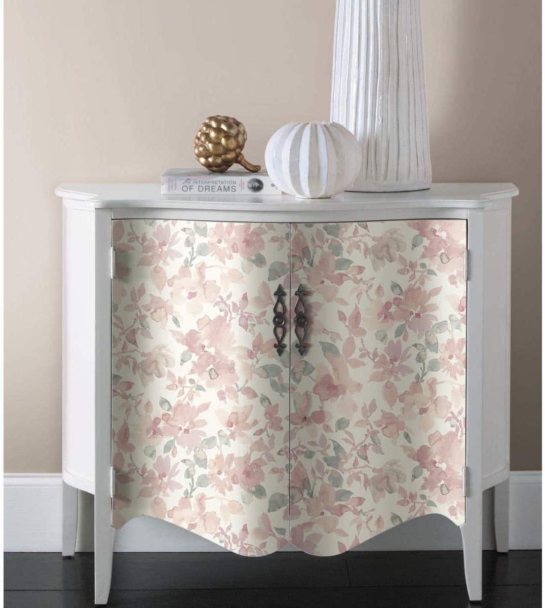 RoomMates Pink/Green Watercolor Floral Peel & Stick Removable Wallpaper $17.65 + FS w/ Walmart+ or Prime