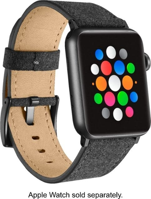 Platinum | Fabric Watch Strap for A/pple Watch 42mm / 44mm (Dark Gray) $9.50 at Best Buy + Free S/H