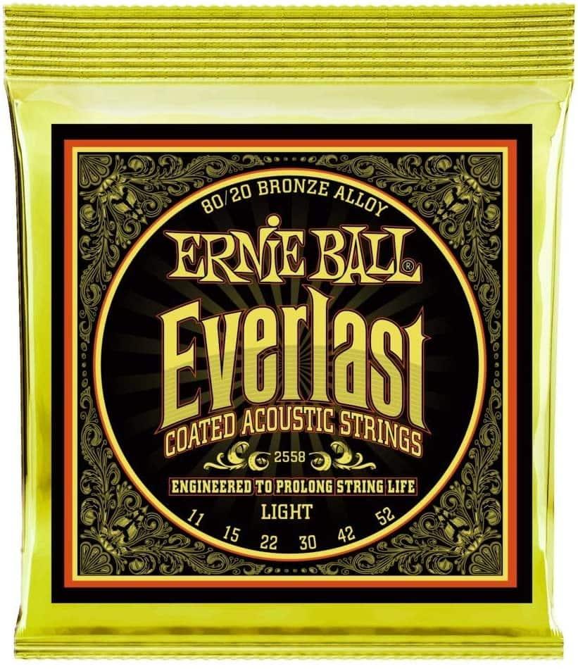 Ernie Ball Everlast Light (11-52) Coated 80/20 Acoustic Guitar Strings (P02558) $11.29 + FS w/ Prime or orders of $25+