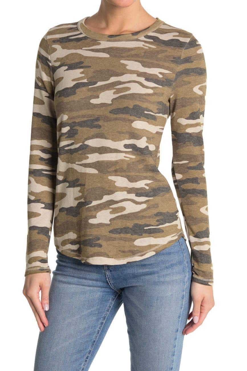 Lucky Brand Women's Burnout Waffle Knit Camo L/S Tee $7.50, Men's 3-Pack Cotton Boxer Briefs $15 & MORE at Nordstrom Rack + Free Store Pickup