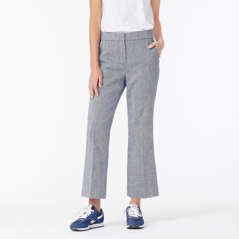 J. Crew Women's Organic Cotton Ruffle Top $15, Hayden Cotton-Linen Pants $18.50, Men's L/S Garment-dyed Tee $10, Sweaters $14 + FS