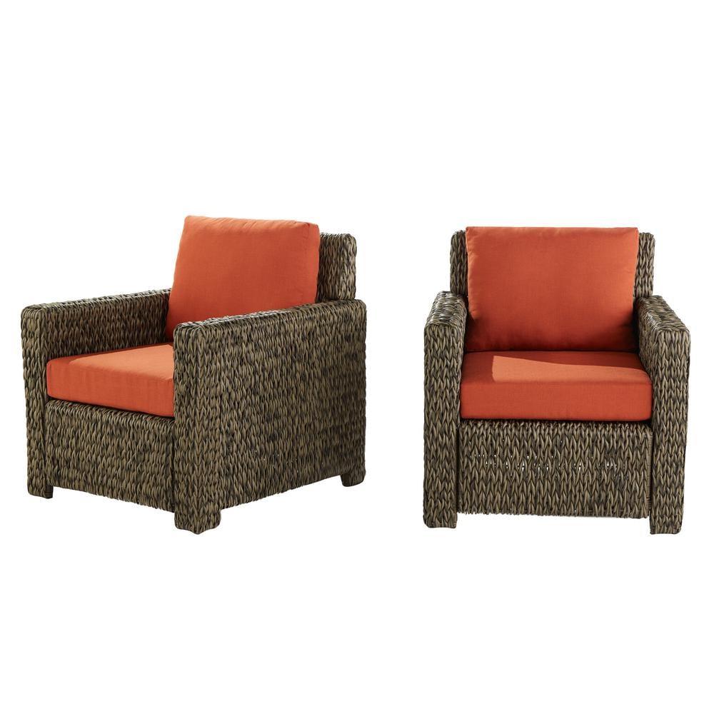 OOS- NLA 2-Pack Hampton Bay Laguna Point Wicker Patio Lounge Chairs (Brown w/ Red Cushions) $329 + FS