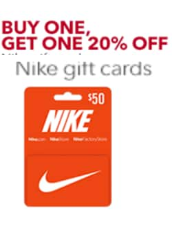 Best Buy: Buy 1 Nike Gift Card, Get 20% off Second Nike Gift Card of Equal or Lesser Value)