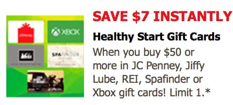 Safeway / Vons / Pavilion Just4U: $7 off $50 XBOX, JCPenney, Jiffy Lube, REI gift cards $43