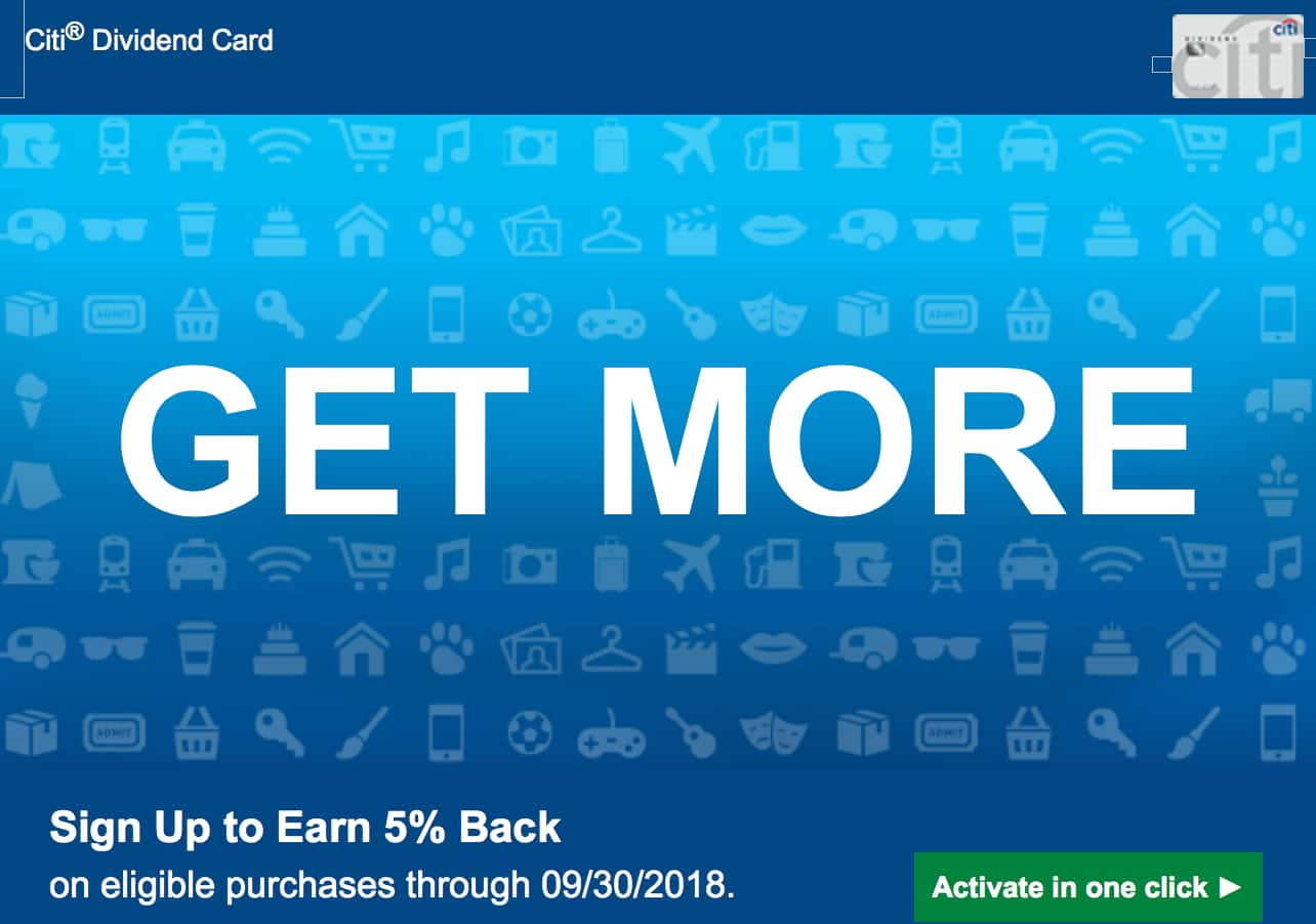 Citi Dividend Cardholders - Targeted Back to School 2018 Bonus Category 5% Spend (YMMV)