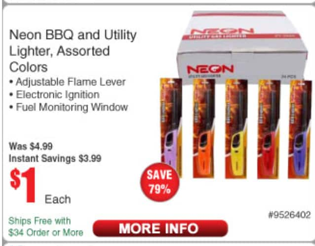 NEON BBQ & UTILITY LIGHTER, ASSORTED COLORS: $1 each at Fry's