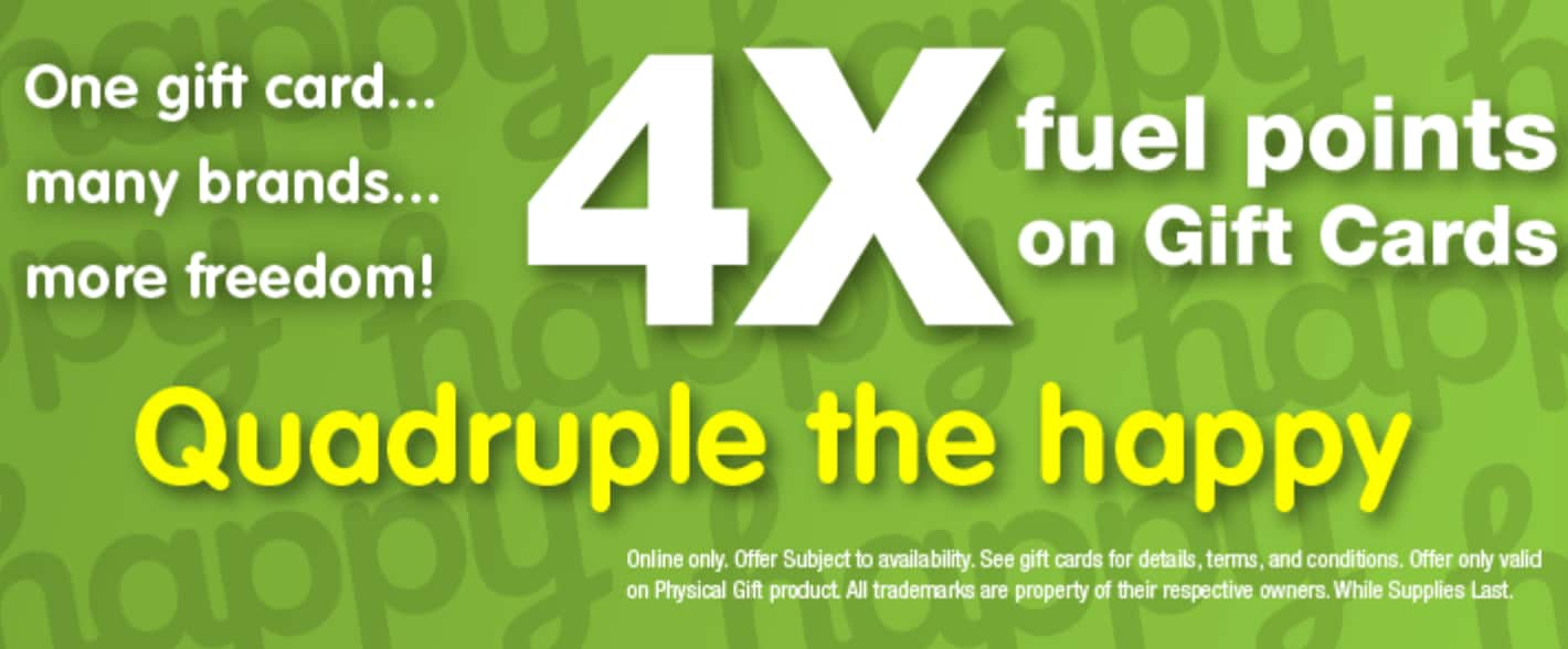 Kroger.com 4x Fuel Points on Happy gift cards