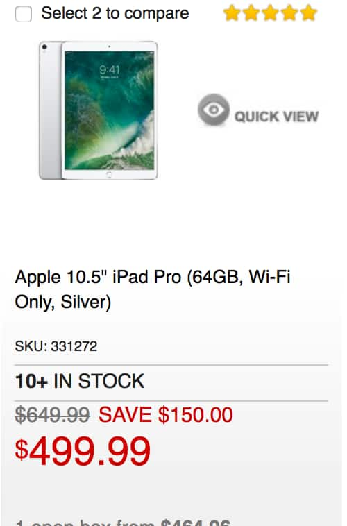 iPad Pro 10.5-in 64GB $499.99; more iPad models on sale with $150 discount at MicroCenter B&M only