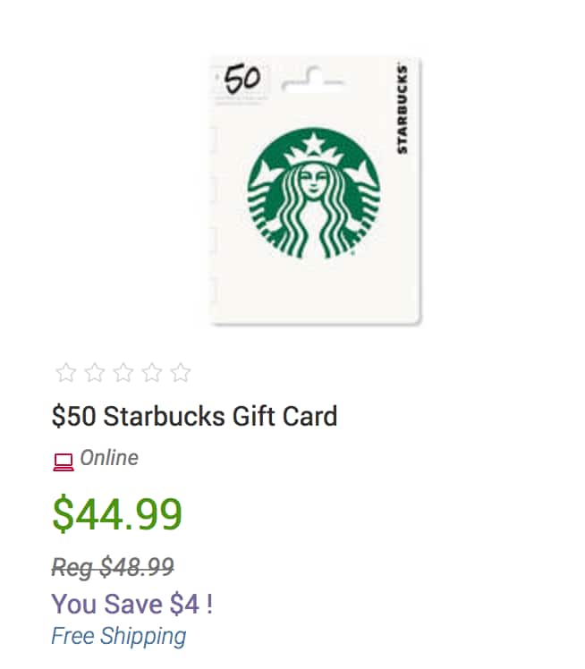 Starbucks Gift Card: $50 physical Gift Card for $44.99 at BJ's