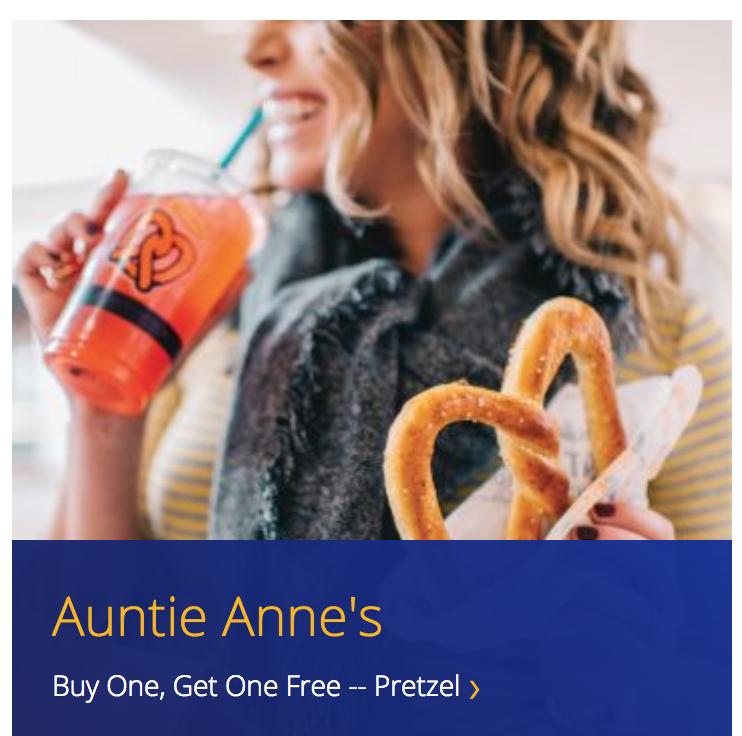 Visa Signature Cardholders: Auntie Anne's Buy 1 Pretzel Item/Get 1 Free Classic Pretzel (thru 12/31/18) -- YMMV