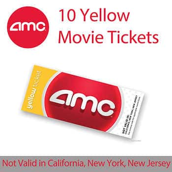 10 Pack AMC Tickets Yellow 7999