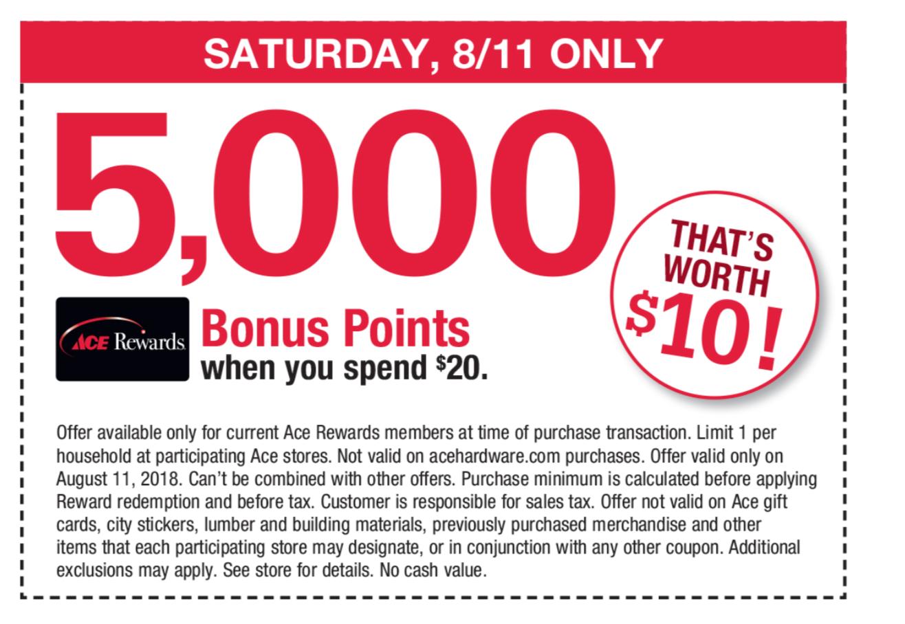Ace Hardware: Rewards Bonus 5000 pt on $20+ Purchase (8/11 Only);  25% off Off One Reg Price Item Under $50 or $12.50 off One Reg Price Item > $50 via printable coupon