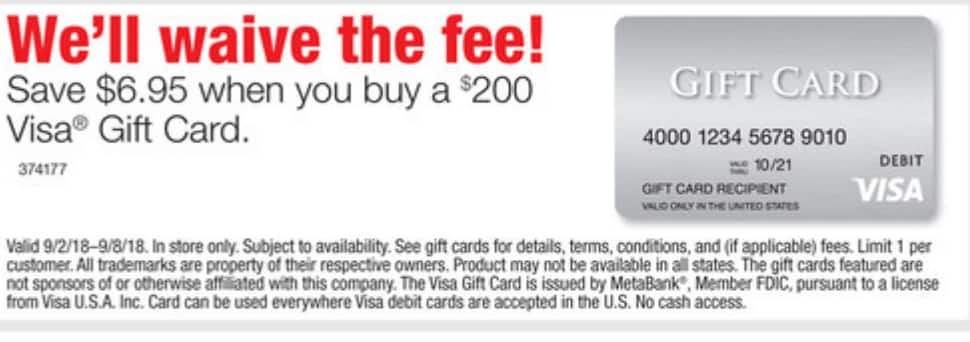 Staples: $200 Visa Prepaid Gift Card, waived activation fees IN STORE ONLY 9/2 to 9/8