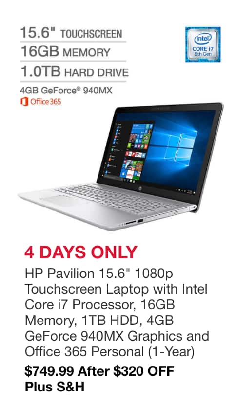 96f85df7ab7 Costco  HP Pavilion 15.6-in Touchscreen Laptop - Intel Core i7 1920x1080p  (15-cc195cl) w  4GB NVIDIA GeForce 940MX Graphics