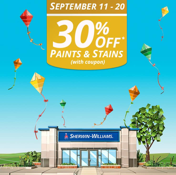 graphic about Benjamin Moore Printable Coupon identified as Sherwin-Williams: 30% Off Paints and Stains w/ Printable