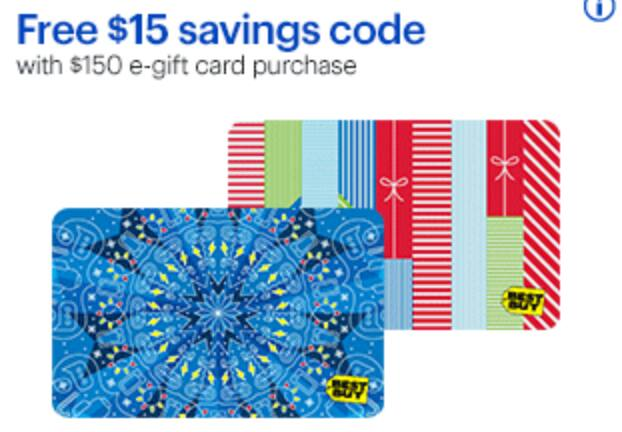 Free $15 savings code when you buy $150 in Best Buy e-gift cards, 11/4 - 11/17/18