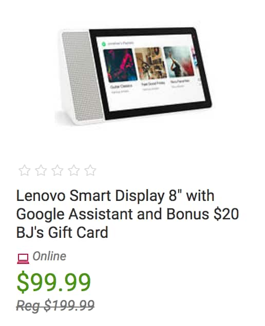 """BJ Members: Lenovo Smart Display 8"""" with Google Assistant and $20 BJ's Gift Card: $99.99 w/ Free Shipping"""