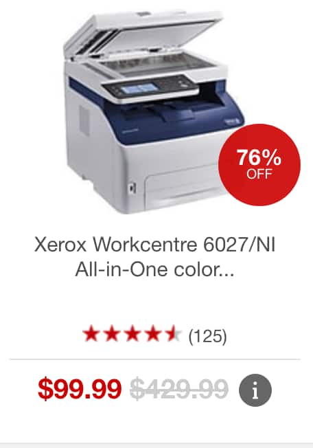 Xerox Workcentre 6027/NI All-in-One color LED Laser printer at Staples $99.99 w/ Free Shipping