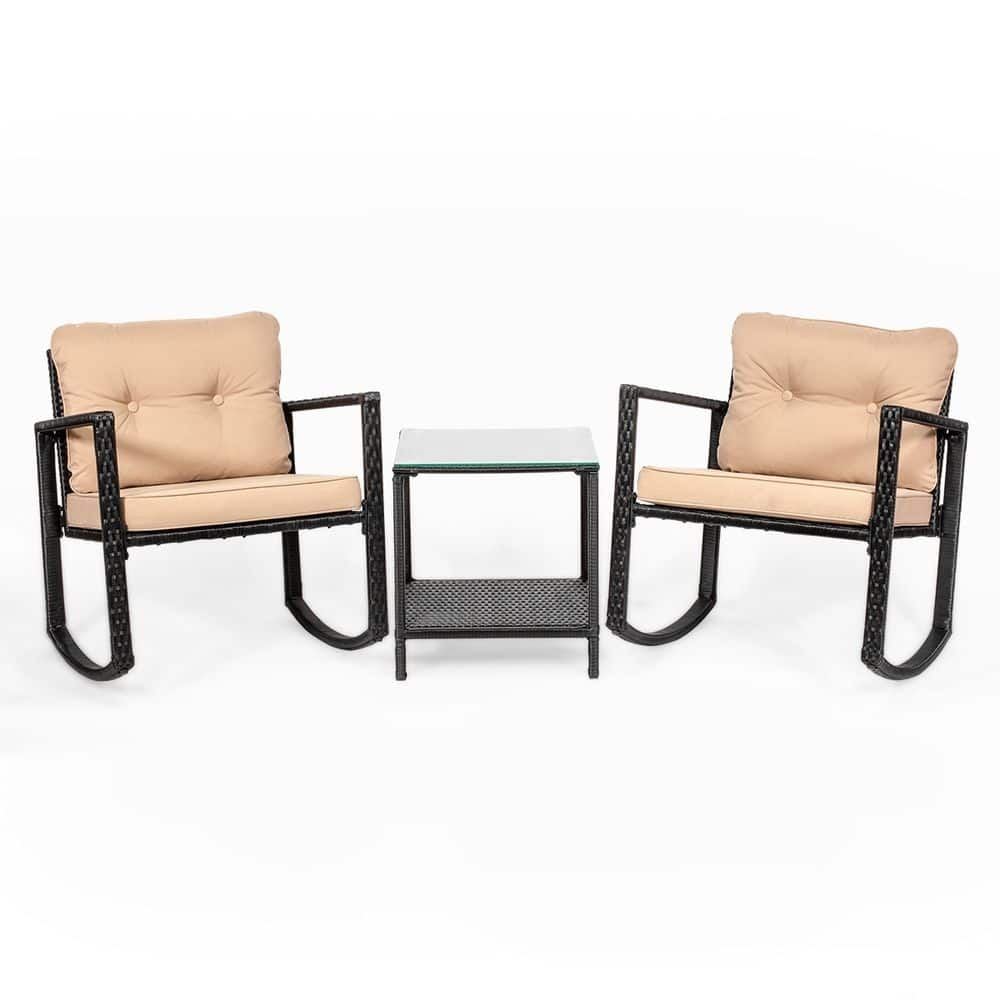 3 Piece Outdoor Wicker Rattan Set w/ 2 Rocker Chairs And Glass Top End Table $109 or Less w/ Free Shipping