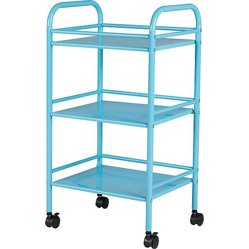 3 Shelf Staples Rolling Cart, Light Blue $9.99 or Less; Black or Silver $19.99 + Free Store Pickup **YMMV