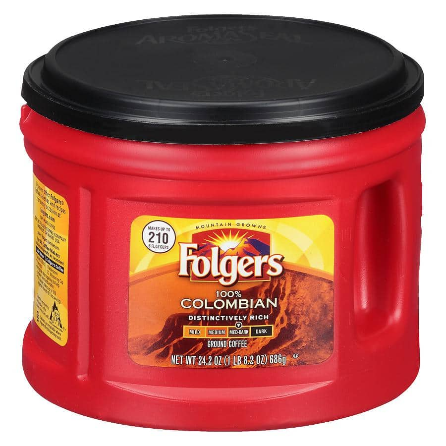 Folgers Coffee at Walgreens - 30.5 Classic Roast, 24.2 oz Black Silk, 22.6 Classic Decaf and More $5.99 + Free Store Pickup