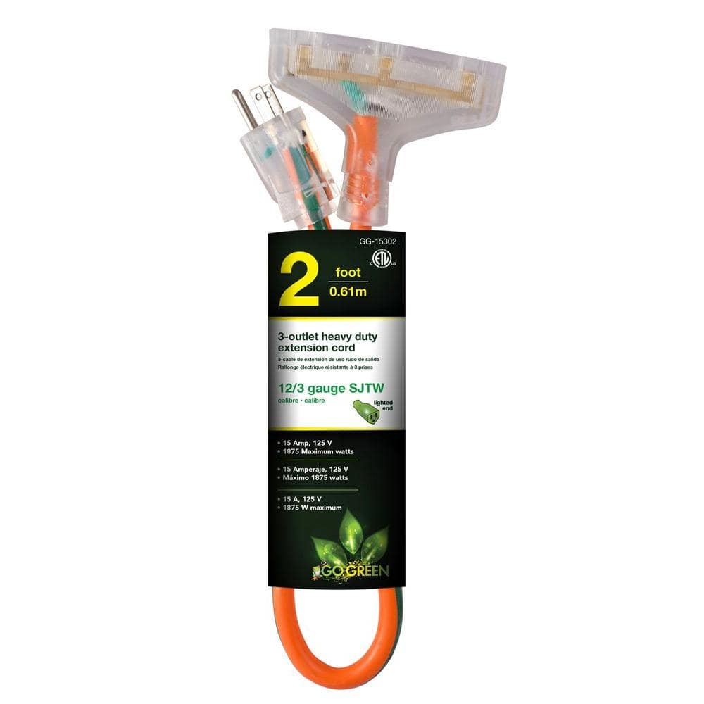 Extension Cords: 2-ft 3-Outlet 12/3 Power by Go Green $8.51, 20-ft 16/3 Outdoor Southwire $11.31 + Free Store Pickup at Home Depot & More $8.37