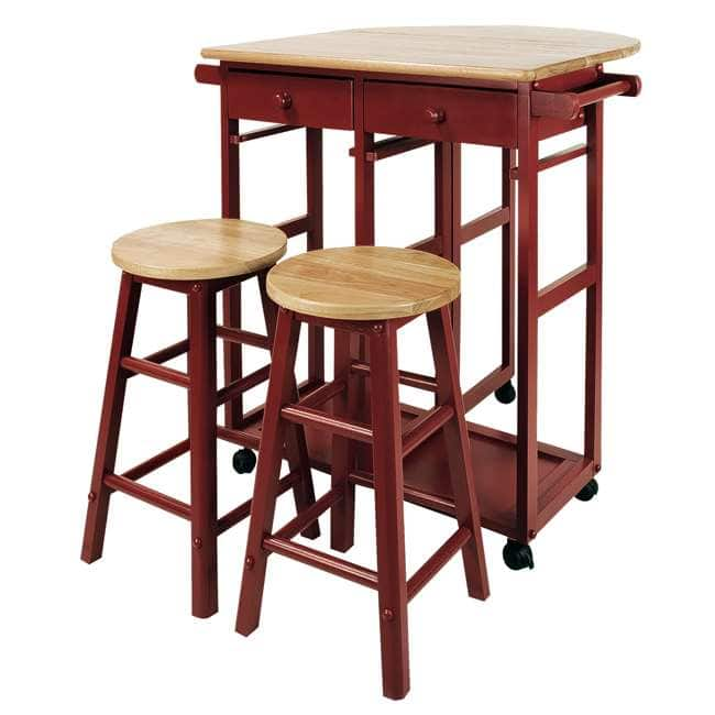 Casual Home - Breakfast Cart w/ Drop-Leaf Hardwood Top & 2 Stools, Red $90 + Free Shipping