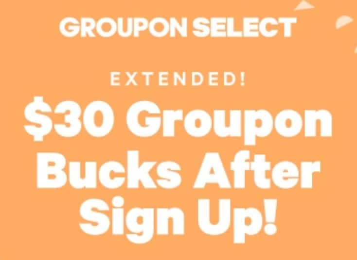 Groupon Select (New signups): 2 Months at $4.99 per Month + $30 Groupon Bucks (awarded within 60 days) **Targeted - YMMV