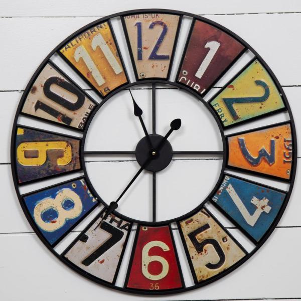 Pinnacle Vintage License Plates Multi Color Clock 236 Round