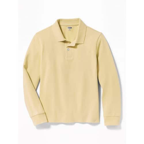 Old Navy: Boys' Uniform Built-In Flex Long-Sleeve Pique Polo: 2 for $10 w/ in-store pickup; 6 for $30 shipped