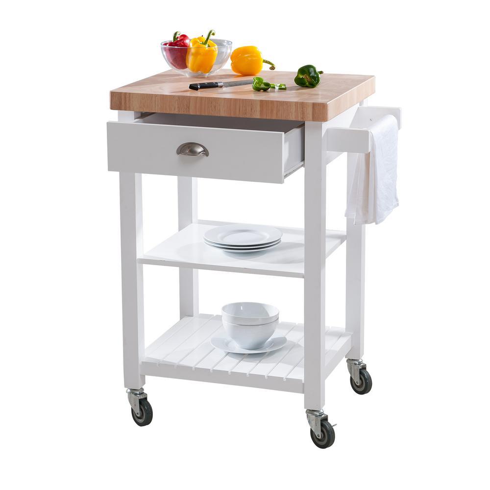 Hampton Bay Brookwood Kitchen Cart in White w/ Butcher Wood Top $75.88 +  Free Shipping